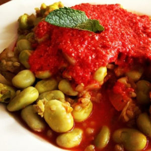 Fava Beans in tomato turmeric sauce