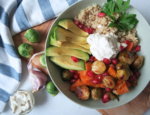 Roasted veggie bowl with garlic sauce