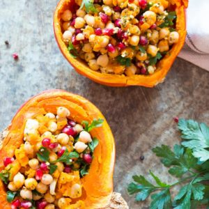 Pumpkin stuffed Chickpeas salad