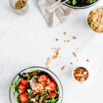 Green Strawberry Salad with Mixed Nuts and Chia Seed Dressing