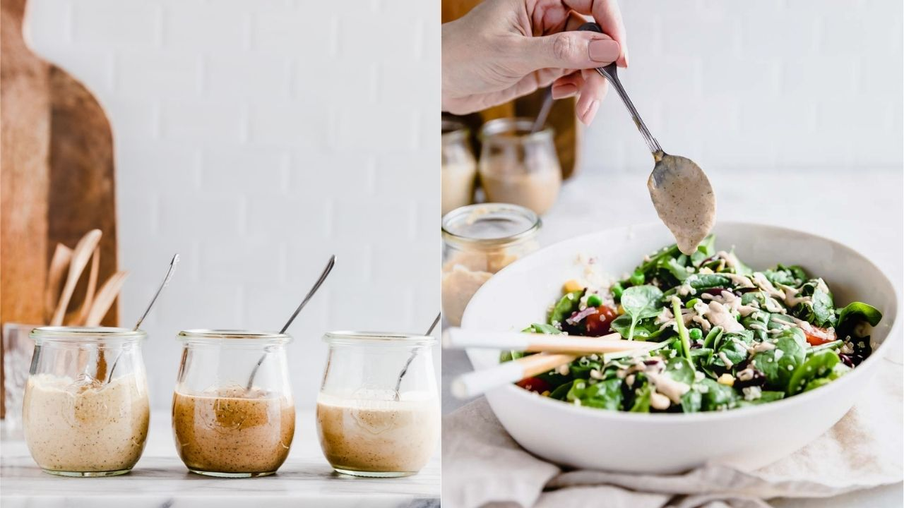 Quinoa salad in oval bowl with chopstick on a lightbrown napkin and a light backdrop.