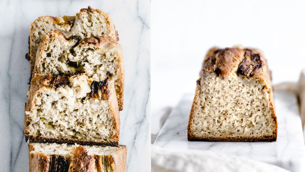 sliced banana bread on white marble backdrop