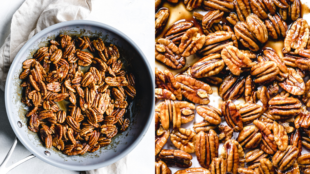 sticky cooked candied pecans in blue skillet with wooden spatula