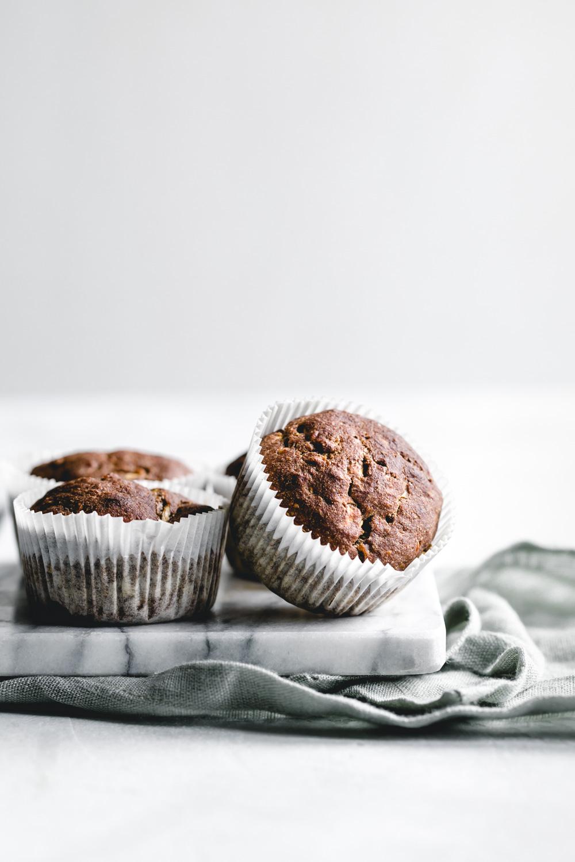 zucchini muffins in liner